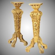Antique French Carved Gilt Wood  Pedestals Stands