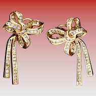 """Estate Diamond Bow and Tied Ribbon Earrings """"CHANNEL SET"""""""