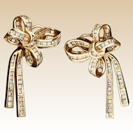 "Estate Diamond Bow and Tied Ribbon Earrings ""CHANNEL SET"""