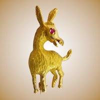 "14KARAT Yellow Gold  D O N K E Y  Broach  ""Ruby Eye & Big Ears"""