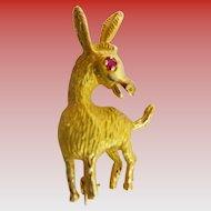 "14KARAT Yellow Gold  D O N K E Y  Broach  ""Ruby Eye & Big Ears"""