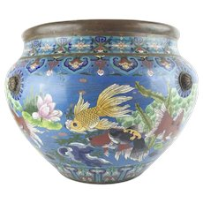"""LAYAWAY Antique 20"""" Chinese Cloisonne Cachepot """"BIG!  Fish & More Fish"""""""