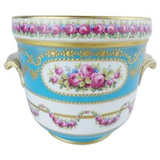 """Antique French Sevres Style Porcelain Cachepot """"Hand painted & Gold Encrusted"""