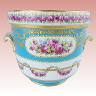 Glorious  French Sevres Style Porcelain Cachepot  ~ Hand painted & Gold Encrusted
