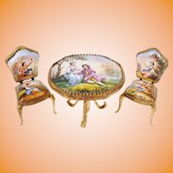 Antique AUSTRIA Enamel Table  and 2 Chairs  ~ Magnificent