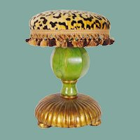 "Vintage Estate Leopard, Faux Marble  Stools "" PAIR""  Carve Wood ~ STUNNING"