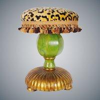 """Fabulous Vintage Estate Leopard, Faux Marble  Stools"""" PAIR"""" Carve Wood"""