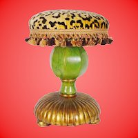"Fabulous Vintage Estate Leopard, Faux Marble  Stools"" PAIR"" Carve Wood"
