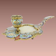 Antique French Champlevé Candle Holder~ Champlevé with an Onyx Insert  ~  Wonderful Color of Sky Blue, Cobalt, Burgundy, Pink