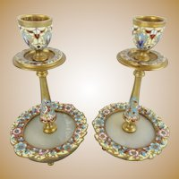 "RARE Antique French Champlevé Candle Holders "" GLORIOUS FLOWERS"""