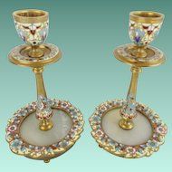 "Antique French Champlevé Candle Holders "" GLORIOUS FLOWERS"""