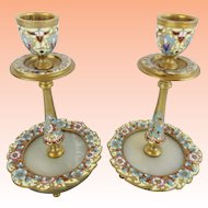 """Antique French Champlevé Candle Holders """" GLORIOUS FLOWERS"""""""