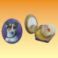 "Antique Purple Enamel ""Jack Russell Dog"" Compact W Original Puff."