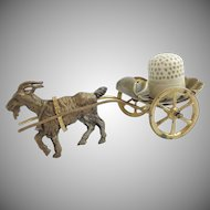 "Palais Royal Goat Cart Thimble Holder with Carved Bone Thimble ""DARLING & SPECIAL"""