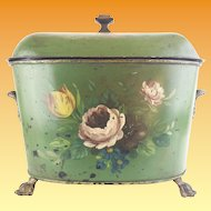 "Antique French Double HandleTole Coal  Hod  Cachepot  ""BIG PAW FEET """