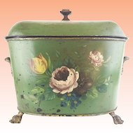 """Antique French Double HandleTole Coal  Hod  Cachepot  """"BIG PAW FEET """""""