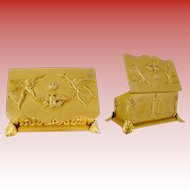 "Antique French Empire Style Double Stamp Box ""FOOTED W ANGLES,EAGLE & CROWN"""