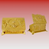 """Antique French Empire Style Double Stamp Box """"FOOTED W ANGLES,EAGLE & CROWN"""""""