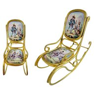"Antique Austrian Viennese Enamel Miniature Rocking Chair ""TWO PASTORAL SCENES"""