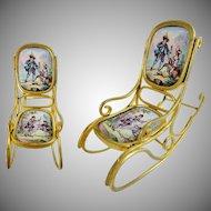 "Antique Austrian Viennese Enamel Miniature Rocking Chair ""TWO PASTORAL SCENES"""