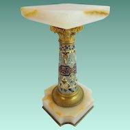 "Antique French Onyx Champlevé Pedestal ""GRANDEST & VERY FINE """