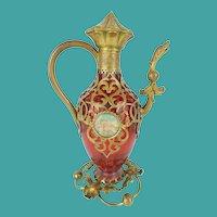 "Palais Royal Cranberry Perfume Scent ""Figural"" Bottle W/Two Miniature"