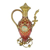 """Antique French Cranberry Perfume Scent """"Figural"""" Bottle W/Two Miniature"""