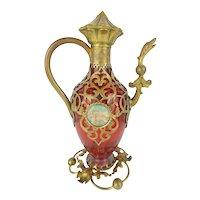 """Palais Royal Cranberry Perfume Scent """"Figural"""" Bottle W/Two Miniature ~ GRANDEST"""