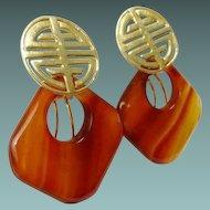 """Estate Vintage 14K Earrings w Three Set Changeable Hoops """"Green Jade, White Jade, & Agate"""""""