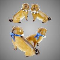 "Antique PAIR PUGS from Conte & Boehm  "" BLUE Collars """
