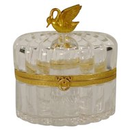 """Gorgeous Antique French Crystal Casket Hinged Box  """" Big Beautiful Swan Finial"""" ~   GREAT QUALITY!"""