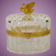 "Gorgeous Antique French Crystal Casket Hinged Box  "" Big Beautiful Swan Finial"" ~   GREAT QUALITY!"