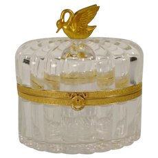 """Beautiful Antique French Crystal Casket Hinged Box """"Swan Finial"""""""