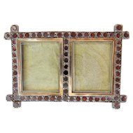 "Antique Double Garnet  Silver Frame."" A TINY masterpiece"""