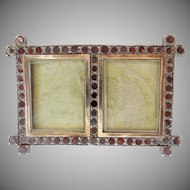 "Antique Double Garnet  Silver Frame."" A TINY masterpiece"""