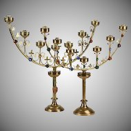 """TWO Antique French Jeweled Gilt Candelabra """" Gothic Revival Style"""""""