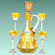 """Bohemian 12½"""" Amber Cut to Clear Beverage Set"""