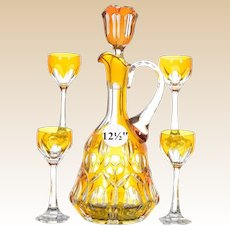 "Bohemian 12½"" Amber Cut to Clear Beverage Set"