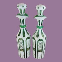 """Antique Bohemian Case Glass Decanters """"White Cut to Emerald Green """""""