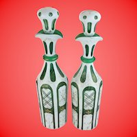 "Antique Bohemian Case Glass Decanters ""White Cut to Emerald Green """