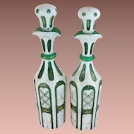 "Stunning Antique Bohemian Case Glass Decanters ""White Cut to Emerald Green """