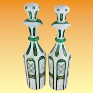 """Stunning Antique Bohemian Case Glass Decanters """"White Cut to Emerald Green """""""