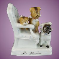 "Antique PUGS  in a Chair  ""A  Porcelain Masterpiece """