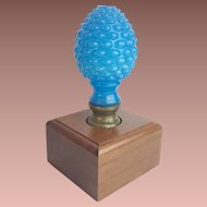 Antique French Opaline Newel Post Finial Boule Escalier in a  Wooden Display