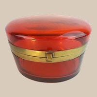 Antique French Red Casket Hinged Box  ~  Beautiful Color &  Size