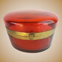 Huge  Antique French Red Casket Hinged Box  ~ Beautiful Color &  Size