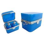"Antique French Blue Opaline Double Handle Scent Casket  Box "" TWO SCENT BOTTLES"""