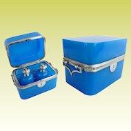 "Antique French Blue Opaline Double Handle Scent Casket  Box "" TWO SCENT BOTTLES"""