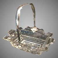 "Antique  Cut Glass Basket ""Engraved Silver Handle"""