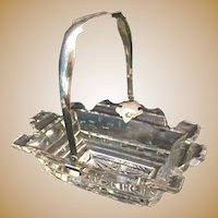 "Antique  Cut Glass Basket ""Engraved Silver Handle"""